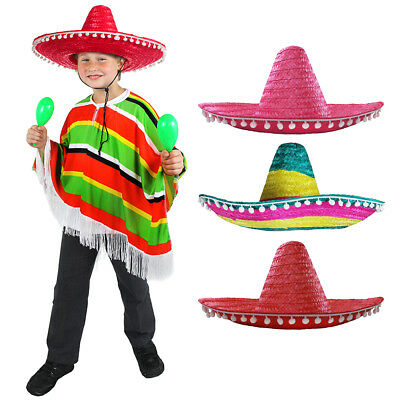 Childs Mexican Poncho With Sombrero Red Pink Multi Wild West Unisex Fancy Dress