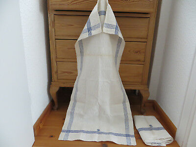 "Antique  Set of two ( 2)  Danish Handwoven Linen Towels Blue Stripes 19"" by 42"""