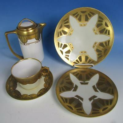 Rosenthal & Limoges - Arts & Crafts - Gold White - Coffee Pot, Cup/Saucer, Plate
