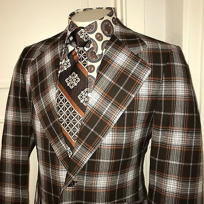 Vtg 60s 70s Ratner Brown PLAID Mens 40 S Sport Coat Jacket Disco Tux Suit Blazer