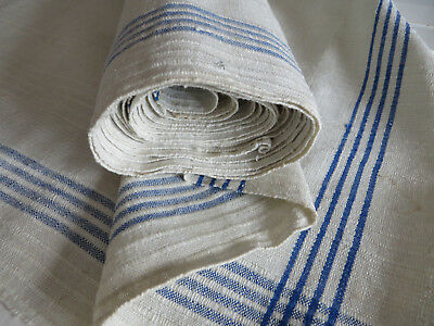 Antique Hand Woven Linen Roll Fabric Towels Toweling  Blue Stripes  3.75 Yards