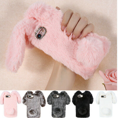 For iPhone Samsung Case Cover Bling Bunny Rabbit Plush Fuzzy Fluffy Soft US Ship