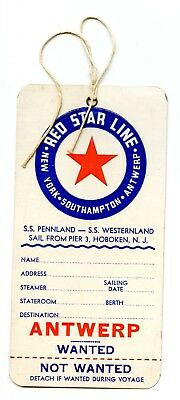 Steamship luggage label Poster Stamp 1930s Baggage Tag Red Star Line Antwerp