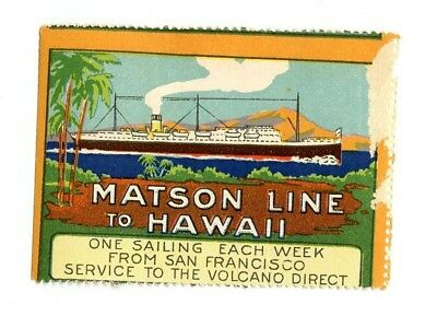 Steamship luggage label Poster Stamp ~1915 Matson Line Hawaii Volcano