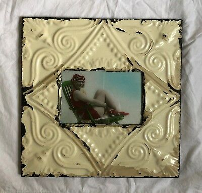 "Antique 1890's Ceiling Tin Picture Frame 4"" x 6"" Reclaimed Metal White 507-18"