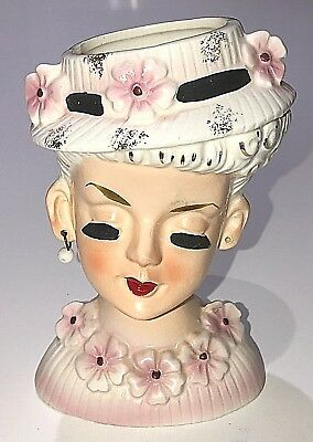 "Vintage Japan 1950's Lady Head Vase 5 1/2"" Tall with White Pink Gold Bonnet Hat"