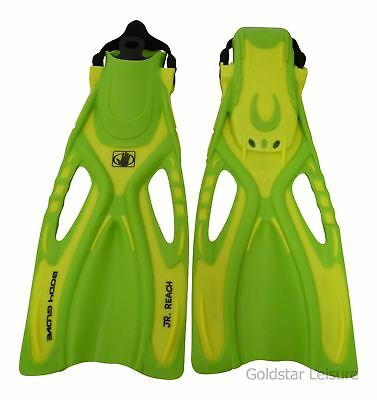 Body Glove Childrens Junior Reach Fins Scuba Diving Swimming UK 9 - 12 Yellow