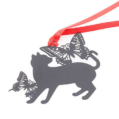 Retro Hollow Metal Black Cat Shape Bookmarks Book Label Stationery Xmas Gift LD