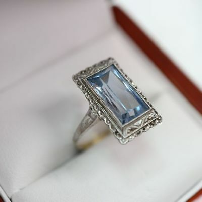 historischer Blautopas / Aquamarin ? Art Deco Ring in  Gold/Silber Gr. 17,5
