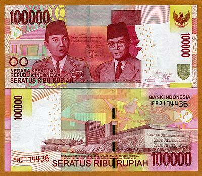Indonesia, 100,000 (100000) Rupiah, 2014, P-153 (New Bank name), UNC