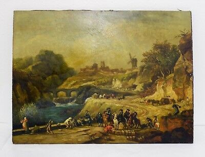 Superb Antique Dutch Oil Painting featuring Figures in Landscape on Wooden Board