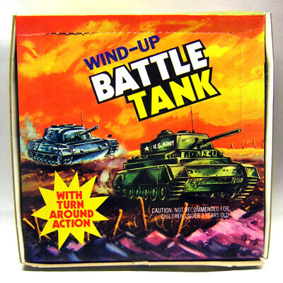 12 x Wind-Up Battle Tank, Kunststoff, Händlerkarton, Made in Hong Kong, 1970er J