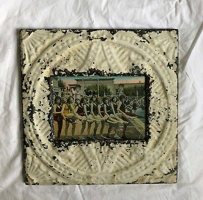 "1890's Antique Ceiling Tin Picture Frame 5"" x 7""  White Metal Reclaimed  515-18"