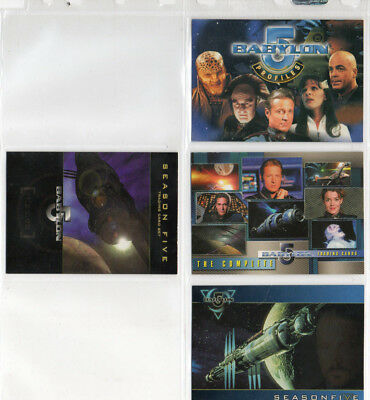 Babylon 5 Profiles - Complete - Season 5 - Lot of 4 Different Promo Cards