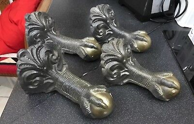 4  X Antique Vintage Ornate Cast Iron Large Ball & Claw Bath Feet