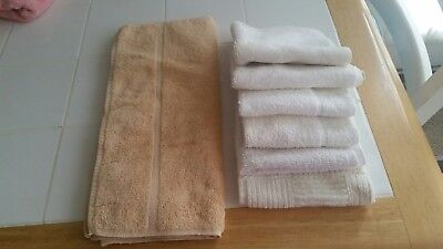 ONE Absorbent Bath Hand Towel plus 6 non-matching White Wash Cloths