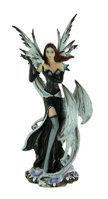 Dark Winter Fairy Standing with White Dragon Statue