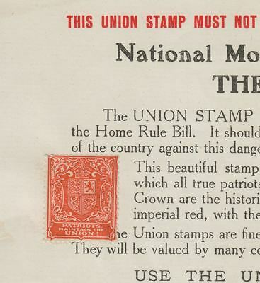Ireland 1914 Anti Home Rule Forerunner 1d Orange Affixed to Union Stamp Form