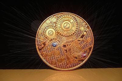 1oz 2011.999 Copper Bullion Rounds coin with Swarovski crystals.watch gears