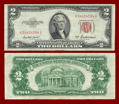 "1953-A Two Dollars ""united States Note"" (Red Seal) $2 Note 4594"