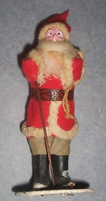 "Vintage Santa Claus-Japan-6 1/4"" Tall-Standing Composition W/toy bag- stick-Mica"