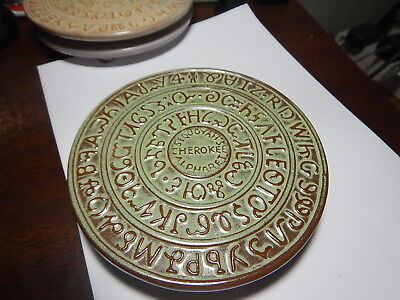 Frankoma pottery green trivet Sequoyah Cherokee Alphabet 1828 estate