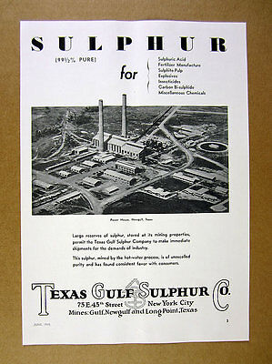 1935 Texas Gulf Sulphur Co power house at Newgulf TX photo vintage print Ad