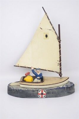 "Vintage ""The Cat Boat"" Cast Aluminum Mechanical Coin Penny Bank Sail Boat Modern"
