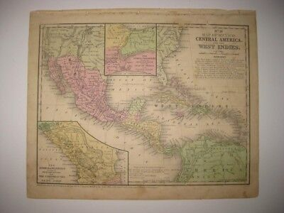 Antique 1852 West Indies Florida Cuba Jamaica Caribbean Jamaica Handcolored Map