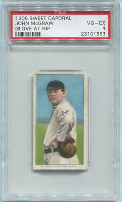 1909-1911 John McGraw Sweet Caporal Glove at Hip T206. PSA VG-EX 4.