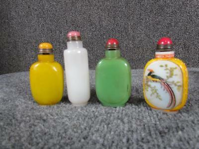 4 BEAUTIFUL vintage CHINESE SNUFF BOTTLES, PEKING GLASS