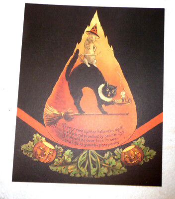 Halloween Print With Great Graphics Rat Riding On Cat's Back Holding Candle
