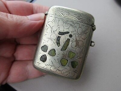 Antique Victorian Silver Epns Irish Connemara Marble Shamrock Vesta Case Fob Uk