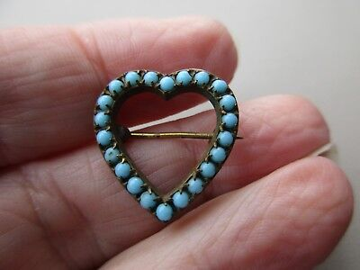 Antique Vintage Victorian Art Nouveau Gold Filled Turquoise Heart Brooch Pin Old