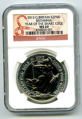 2013 Great Britain 1 Oz Silver Britannia Ngc Ms69 Year Of The Snake Edge Privy
