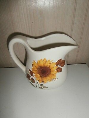 """USA Pottery Large White Pitcher with Sunflower Motif - 7"""" Tall"""