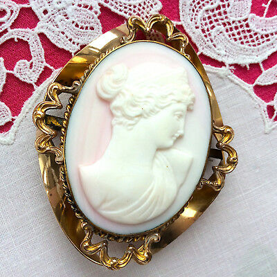 Large Vintage CAMEO PIN Angel Skin Coral Pink-White Marked Gold Plate? Exquisite