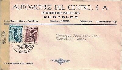 1940's Aguascalientes, Mexico Cancel; Censored Dodge, Chrysler Advertising Cover