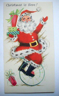 Santa on unicycle w gifts MCM Mid Century Christmas vintage greeting card *3G