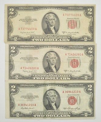 Lot (3) Red Seal $2.00 US 1953 or 1963 Notes - Currency Collection *269