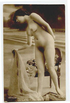 1910s French Risque NUDE BEAUTY naked lady JR Series photo postcard