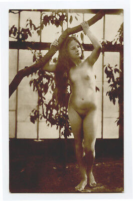 1910s German Risque NUDE BEAUTY Slim naked lady Long Hair Haired photo postcard