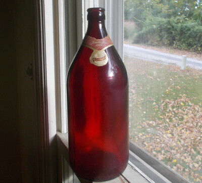 Royal Ruby Anchorglass 1950 Qt Ruby Red Beer Bottle W/schlitz 1949 Dated Label