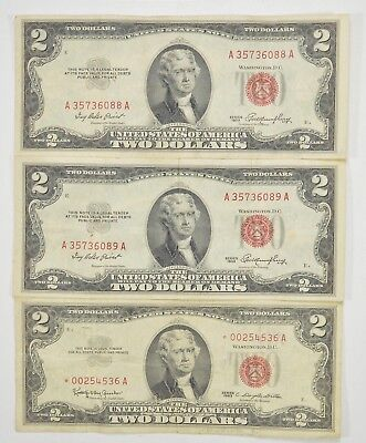 Lot (3) Red Seal $2.00 US 1953 or 1963 Notes - Currency Collection *266