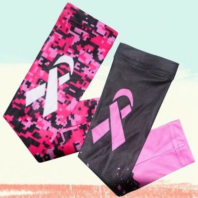 Pink Ribbon Breast Cancer Awareness Compression Outdoor Sport Arm Sleeve