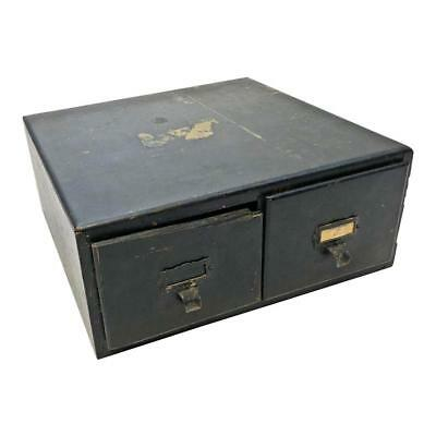 Vintage WOOD CARD CATALOG FILE BOX 4 x 6 black industrial storage rustic cabinet