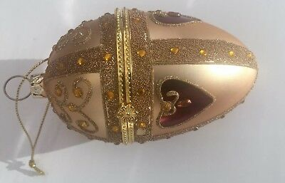 Faberge Egg Style Christmas Ornament Glass Glitter Jewels Gold Red Set Lot 2
