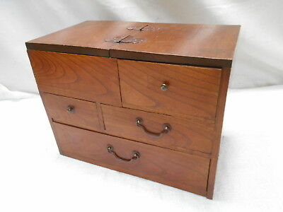 Antique Keyaki and Sugi Wood Sewing Box Japanese Drawers C1910s #850