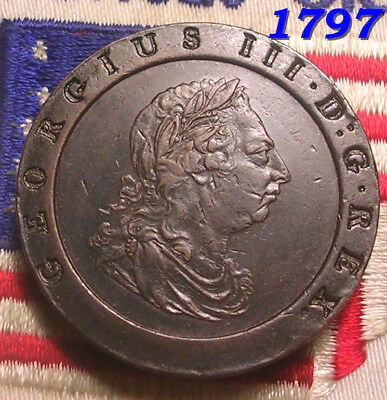 1797 George III TWOPENCE COLONIAL  REVOLUTIONARY COIN NoTA TOKEN Half Penny XF+