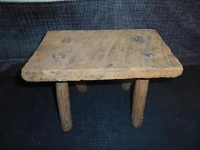 Antique Primitive Wood MILKING STOOL Old Vtg Rustic Barn Farm Decor Garden Seat